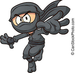 Cartoon ninja. Vector clip art illustration with simple...