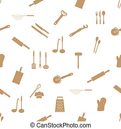 home kitchen cooking utensils seamless pattern eps10