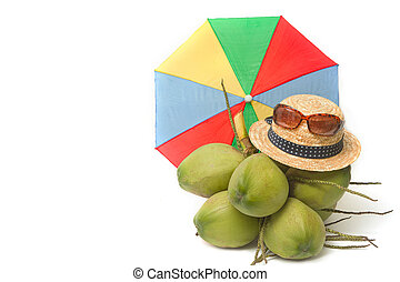 straw hat and sunglass with young coconut