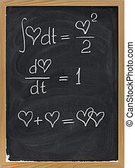 mathematics of love - calculus formulas with a heart as...