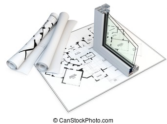 3d cut of window profile and blueprints on white background