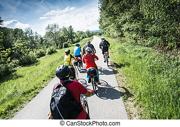 group of bicyclists - Wachau Valley,Austria-May...