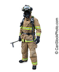 Modern firefighter in gear with equipment isolated on a...
