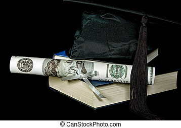 Cashing Out - Money diploma with graduation hat on books.