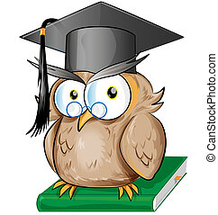 Wise owl cartoon isolated