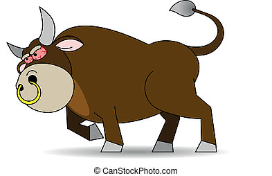 Rabid bull - There is a rabid brown bull with a gold ring in...