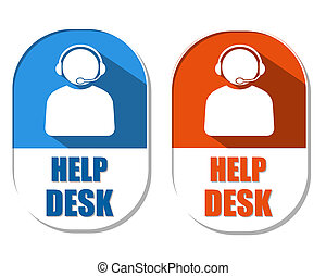 help desk with headset sign, two elliptical labels - help...