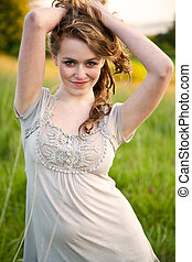 Beautiful summer girl - A beautiful caucasian teenage girl...