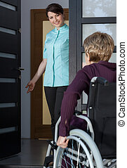 Disabled lady coming back home - Disabled lady on a...