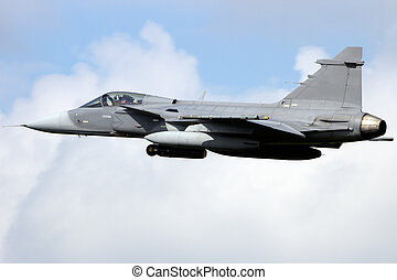 Fighter jet - Military Gripen fighter jet take off