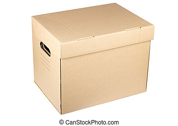 moving box - Closed cardboard box isolated on a white...