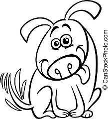 funny dog cartoon coloring page - Black and White Cartoon...