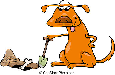 dog with bone cartoon illustration - Cartoon Illustration of...