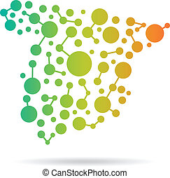 Spain dot and lines map image. Concept of networking,...