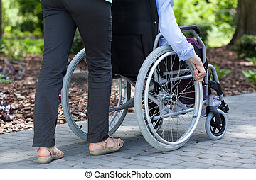 Person on a wheelchair and guardian in a garden