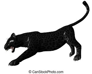 Agressive black panther - 3D rendered image of Black panther...