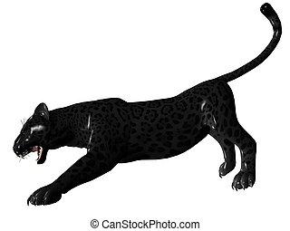 Agressive black panther - 3D rendered image of Black panther...