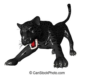 Agressive black panther front view - 3D rendered image of...