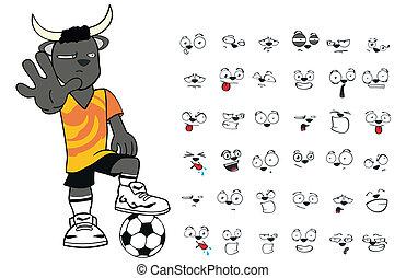 bull kid soccer cartoon set4