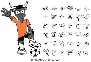 bull kid soccer cartoon set6