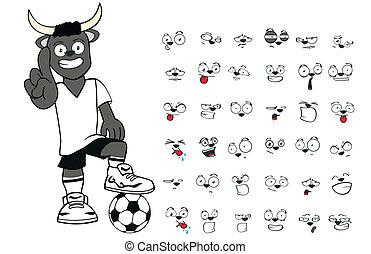 bull kid soccer cartoon set8
