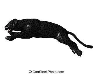 Jumping black panther - 3D rendered image of Black panther...