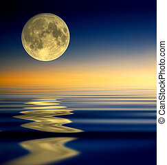 Full moon reflection - Full moon on reflected water surface