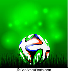 Soccer ball - Soccer or football ball in grass on green...