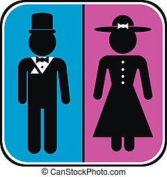 Icons of men and women in retro style