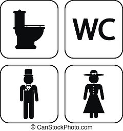WC icons on white background. Vector illustration.