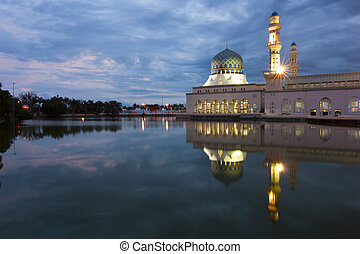 Beautiful Kota Kinabalu city mosque at dawn in Sabah,...