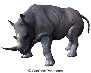 Charging rhinoceros - 3D rendered model of african...
