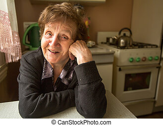 Portrait of a smiling elderly woman in her house.