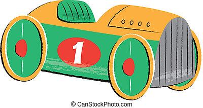 Retro Race Car Children's Illustration