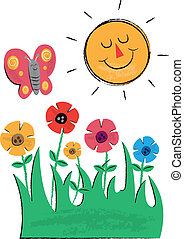 Sun, Flowers and Butterfly Children's Illustrations