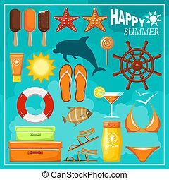 Summer beach set. vector