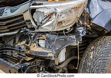 Details of a crash car an accident. - Close up details of a...