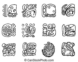 Maya patterns Outline drawings - Maya patterns made on the...