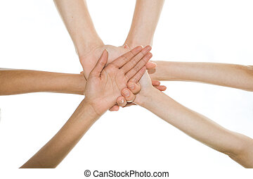 teamwork - hands together in a circle