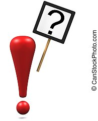 Exclamation mark with asking sign