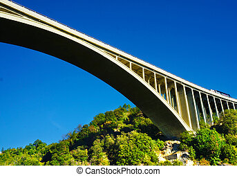 Bridge with blue sky - A bridge with blue sky