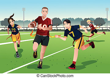 Young people playing flag football - A vector illustration...