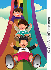 Children sliding down the rainbow - A vector illustration of...
