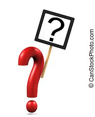 Question mark with asking sign