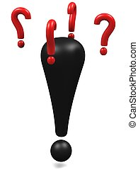 Exclamation mark wondering - Black exclamation mark with...