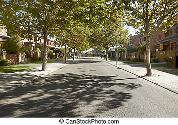 Quiet street view in a residential area