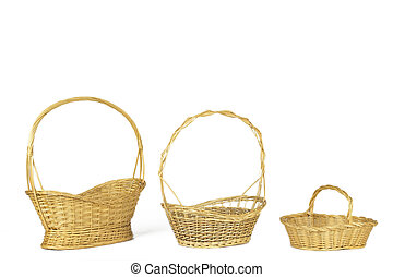 Yellow wicker baskets isolated on white. Horizontal format