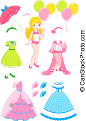 Princess doll - Princess paper doll with clothes and...