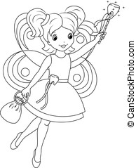 tooth fairy coloring page - Tooth fairy flies to collect...