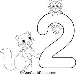 two cats coloring page - Illustrations help children learn...